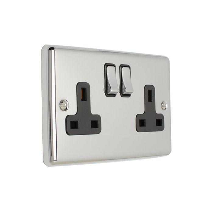 Eurolite 2 Gang 13Amp DP Switched Socket Polished Enhance Range