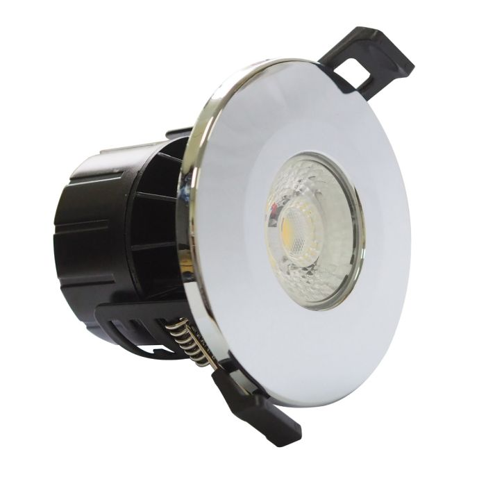 LED Polished Chrome Fire Rated 8 Watt Dimmable IP65 CCT Colour Changing Downlight