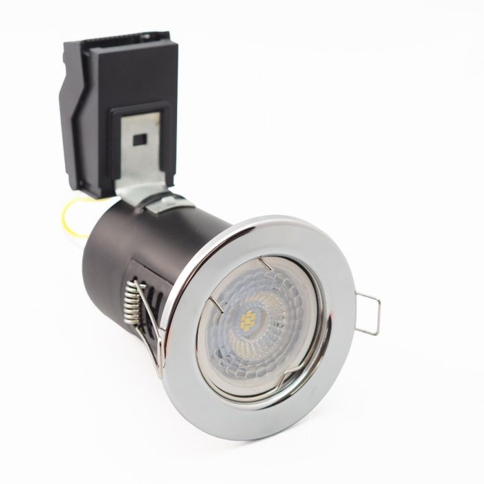 LED 6.5w Dimmable Fire Rated Pressed Recessed Polished Chrome Downlight Samsung LED