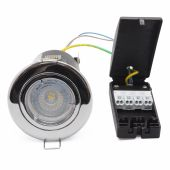 LED 6.5w Dimmable Fire Rated Cast Recessed Polished Chrome Downlight Samsung LED